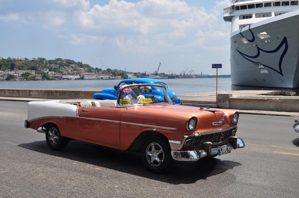 Orange Classic Car, Havana, Cuba