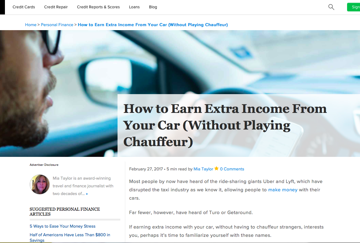 Credit.com Extra Income from Car
