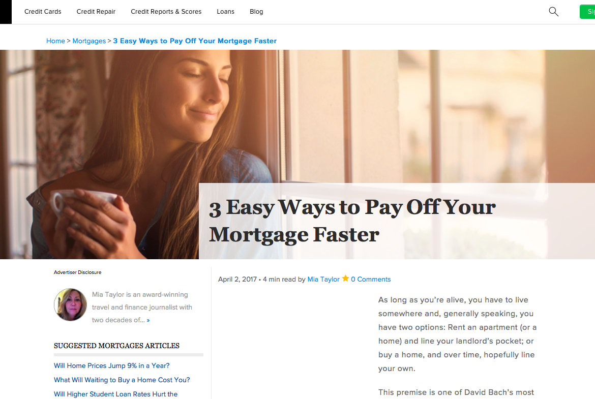 Credit.com Pay Off Mortgage
